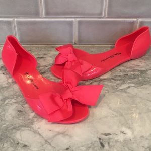 Chinese Laundry Hot Pink Jelly Bow Flats sz 9